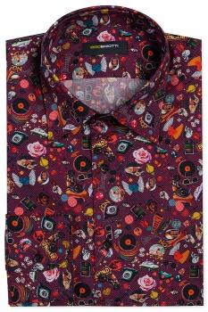 Superslim Burgundy Floral Shirt