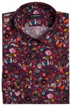 Camasa Superslim Grena print Floral