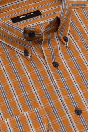 Camasa slim oranj in carouri