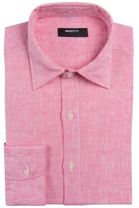 Camasa din in shaped roz uni