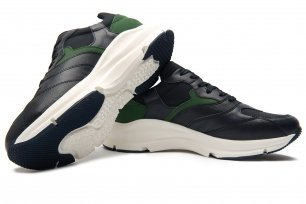 Sneakers bleumarin piele si textil