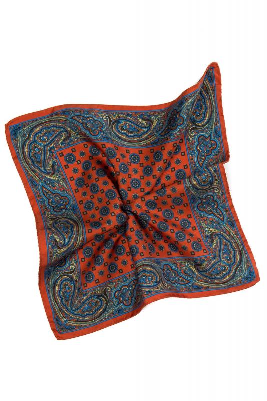 Batista oranj print geometric matase tesuta