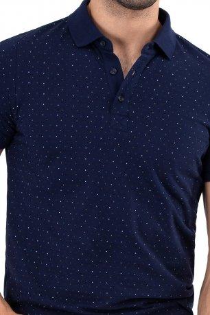 Tricou slim bleumarin print geometric