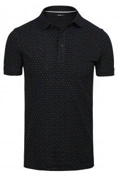 Tricou polo slim negru print geometric