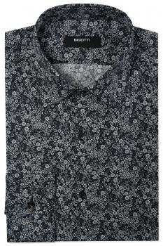 Shaped Black Floral Shirt