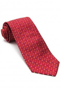 Cravata matase tesuta rosie print geometric