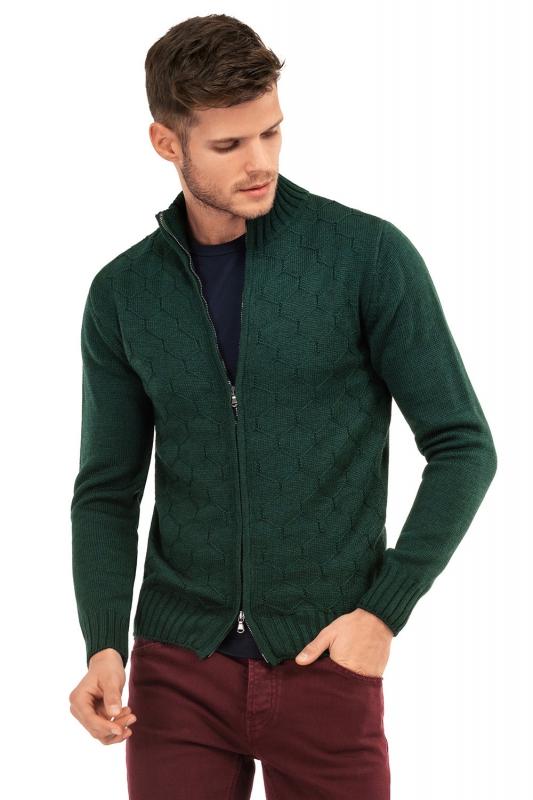 Pulover slim verde uni cu fermoar