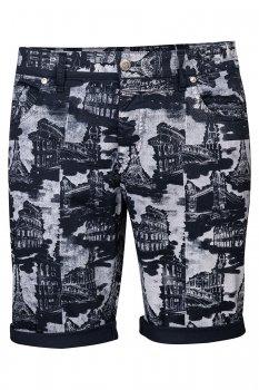 Pantaloni scurti slim bleumarin print