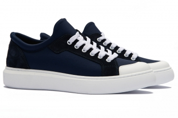 Navy Leather and textile Shoes
