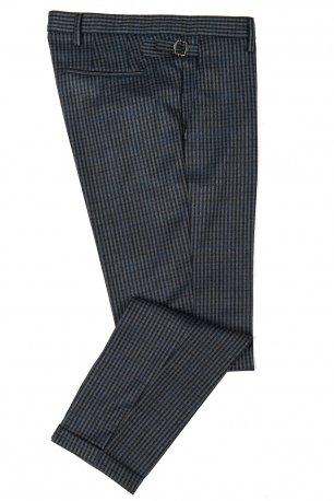 Pantaloni  bleumarin in carouri