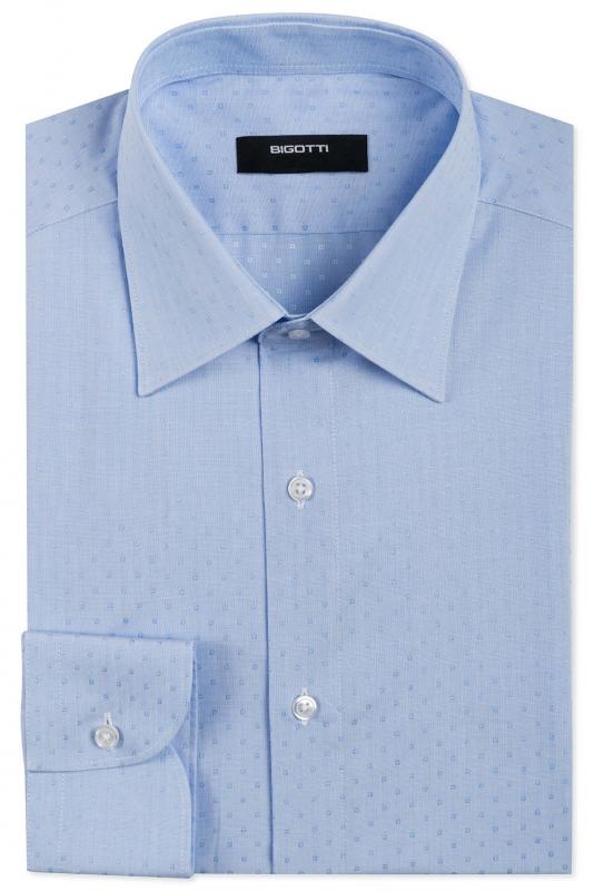 Camasa superslim stretch bleu print geometric
