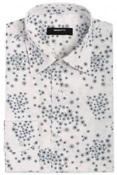 Slim body White Floral Shirt