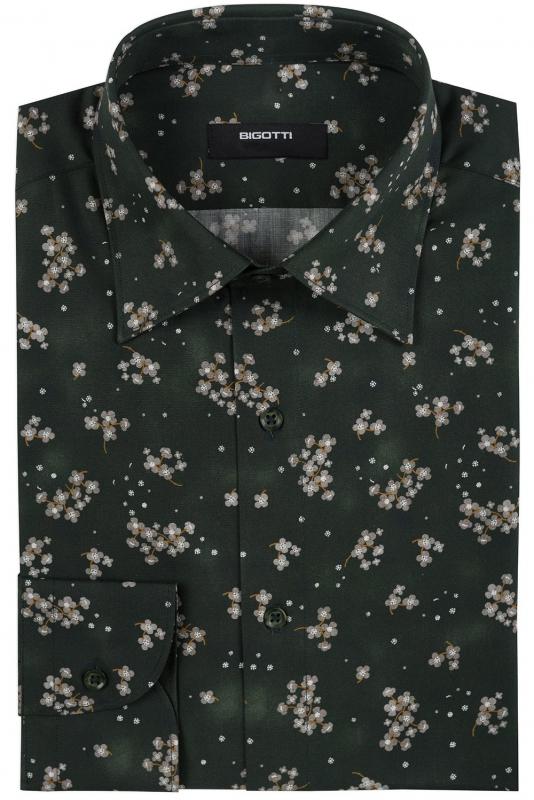 Camasa slim verde print floral