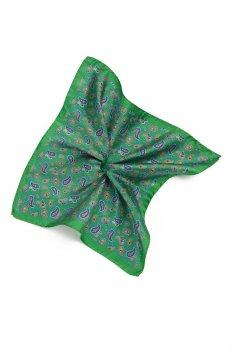 Batista verde print floral matase tesuta