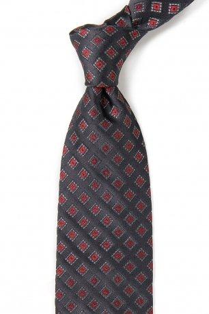Cravata matase tesuta gri print geometric