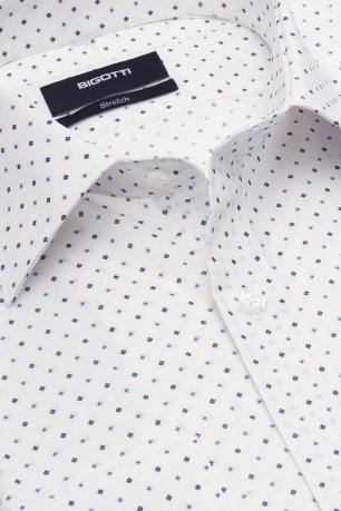 Camasa shaped stretch alba print geometric