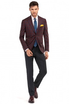 Slim Burgundy Check Blazer
