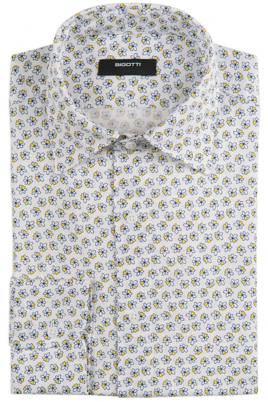 Camasa shaped din in alba print floral