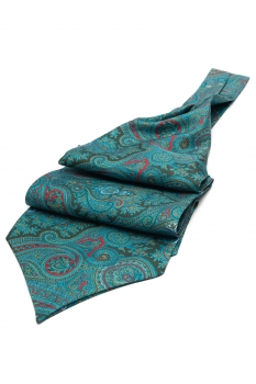 Green Floral Ascot tie
