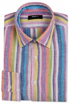 Camasa Slim din in Multicolora cu Dungi