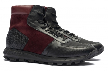 Burgundy Leather and textile Shoes