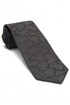 Cravata matase tesuta gri uni
