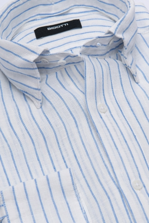 Camasa Shaped din in Alba cu Dungi