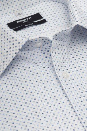 Camasa slim stretch alba print geometric