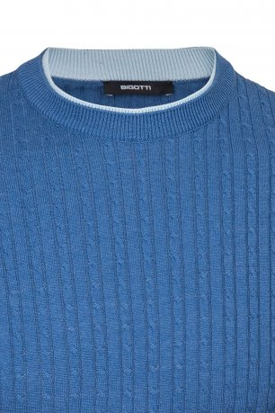 Pulover regular bleu uni