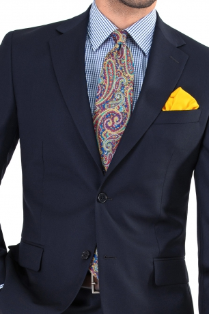 Costum superslim riccof bleumarin cu structuri