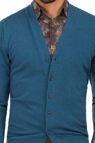 Cardigan regular albastru