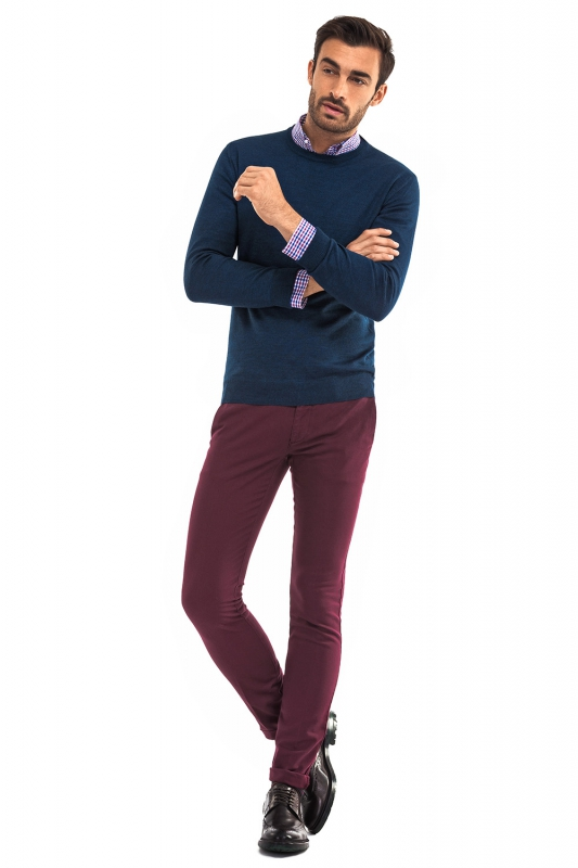 Pantaloni superslim marco bordo