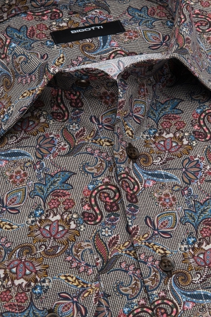 Camasa shaped bej print floral