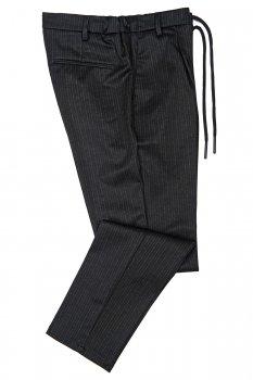 Pantaloni slim Negri cu Dungi