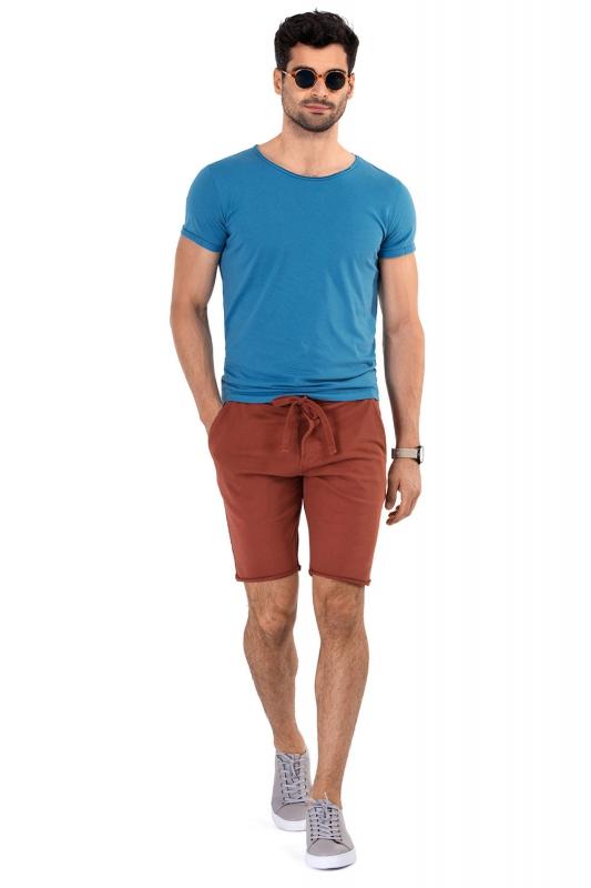 Pantaloni scurti slim caramizii uni