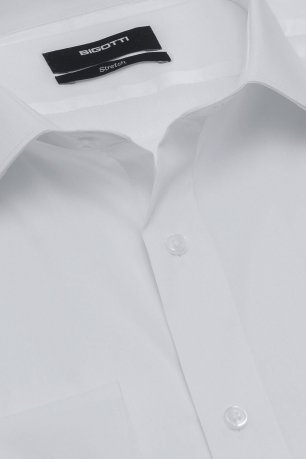 Camasa slim stretch alba uni