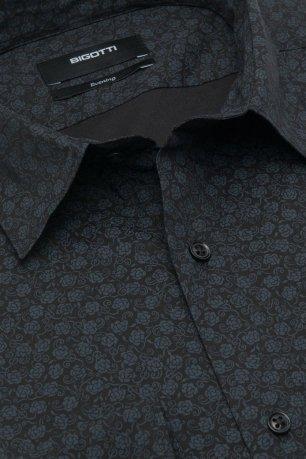 Camasa slim neagra print floral