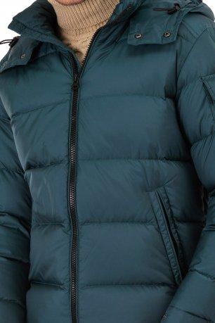 Jacheta  slim albastra cu puf si gluga detasabila