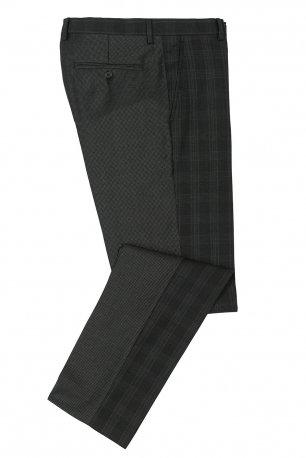 Pantaloni conti slim negri in carouri