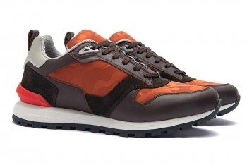 Sneakers Oranj Piele naturala si textil