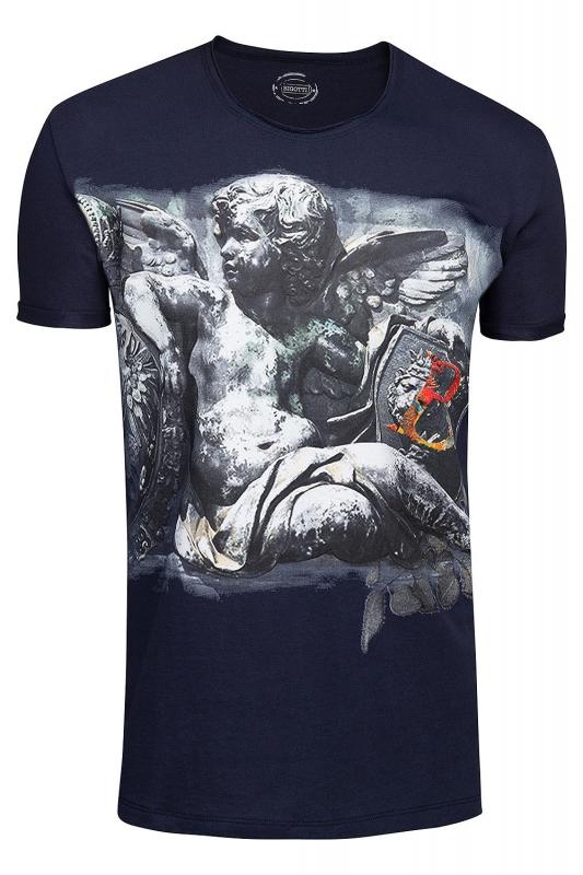Tricou slim Bleumarin print