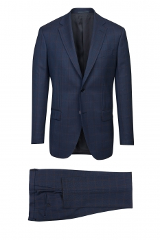 superslim navy blue check suit