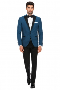 Slim Blue Plain Blazer