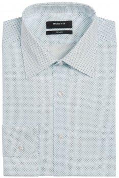 Camasa superslim stretch alba print geometric