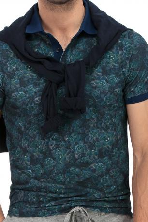 tricou polo bleumarin print floral