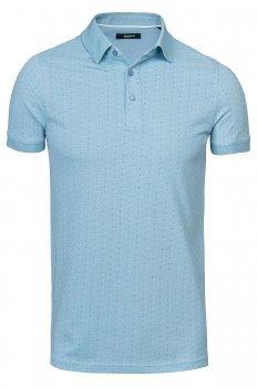 Tricou polo slim bleu print geometric