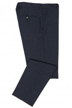 Pantaloni conti bleumarin in carouri