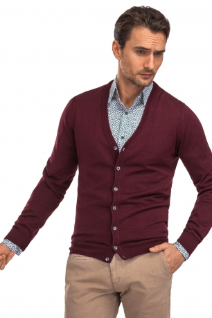 Cardigan slim grena in v