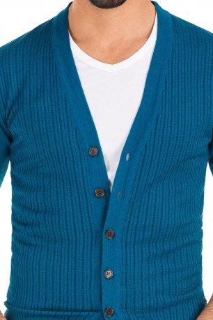 Cardigan slim albastru uni
