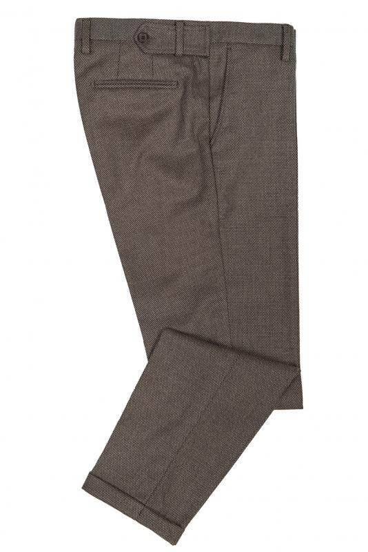 Pantaloni slim maro print geometric